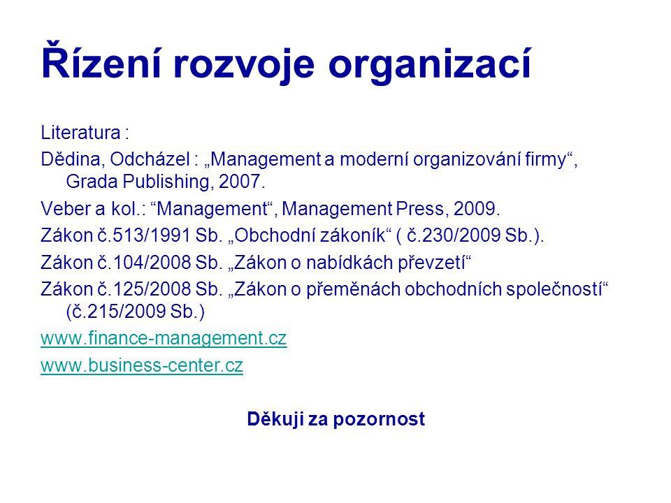 """Řízení rozvoje organizací Literatura : Dědina, Odcházel : """"Management a moderní organizování firmy"""", Grada Publishing, 2007. Veber a kol.: """"Management"""