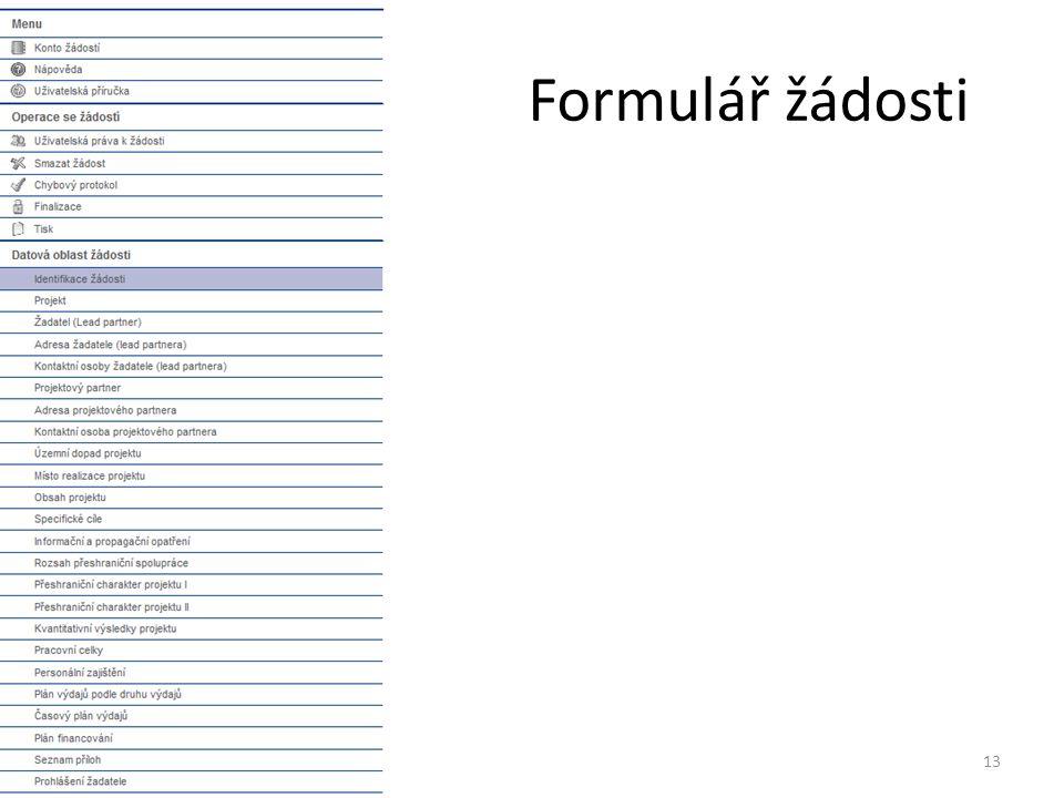 Formulář žádosti 13