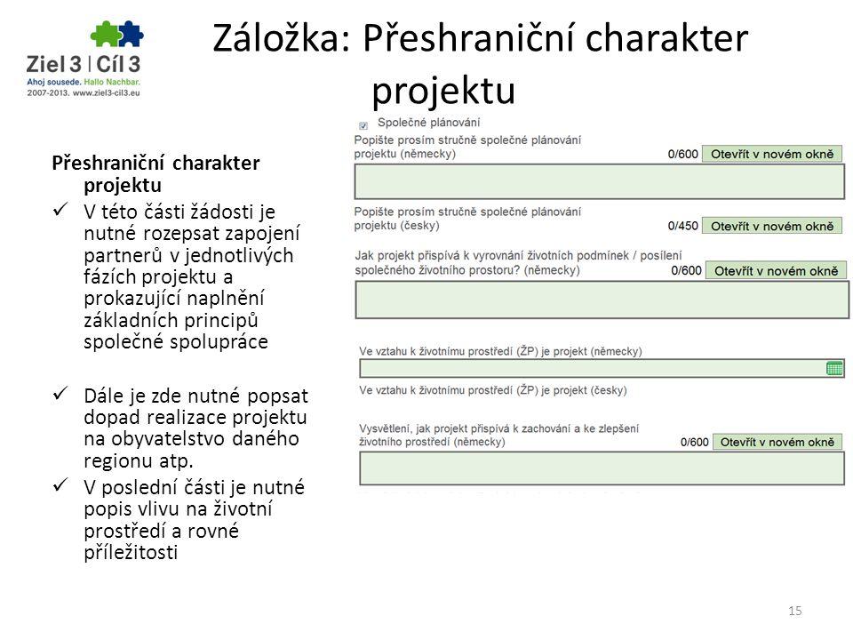Záložka: Přeshraniční charakter projektu Přeshraniční charakter projektu V této části žádosti je nutné rozepsat zapojení partnerů v jednotlivých fázíc