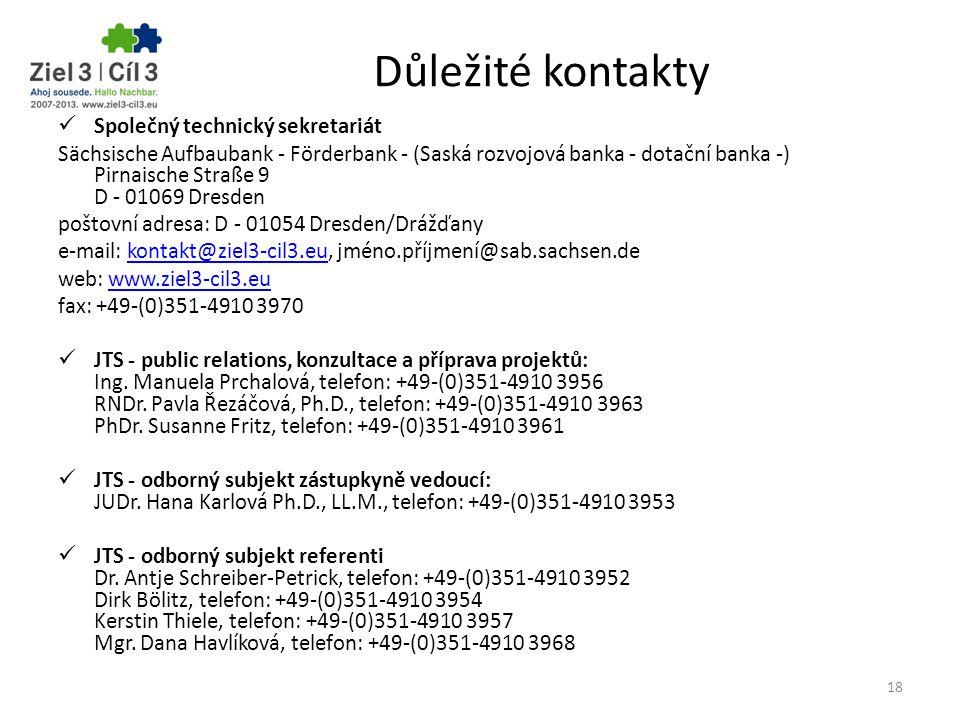 Důležité kontakty Společný technický sekretariát Sächsische Aufbaubank - Förderbank - (Saská rozvojová banka - dotační banka -) Pirnaische Straße 9 D