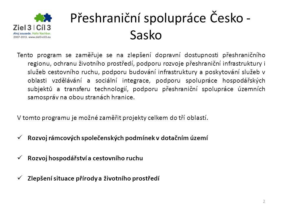 Přeshraniční spolupráce Česko - Sasko Tento program se zaměřuje se na zlepšení dopravní dostupnosti přeshraničního regionu, ochranu životního prostřed