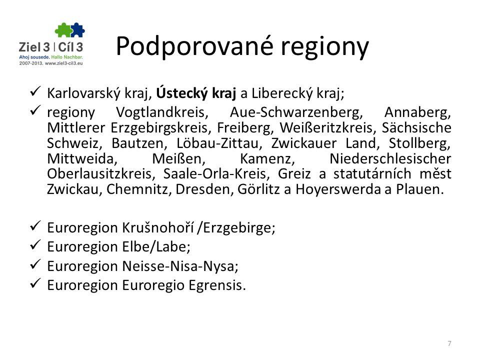 Podporované regiony Karlovarský kraj, Ústecký kraj a Liberecký kraj; regiony Vogtlandkreis, Aue-Schwarzenberg, Annaberg, Mittlerer Erzgebirgskreis, Fr