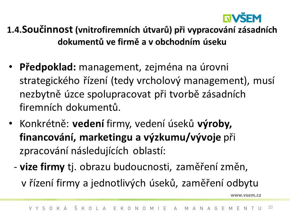 10 1.4. Součinnost (vnitrofiremních útvarů) při vypracování zásadních dokumentů ve firmě a v obchodním úseku Předpoklad: management, zejména na úrovni