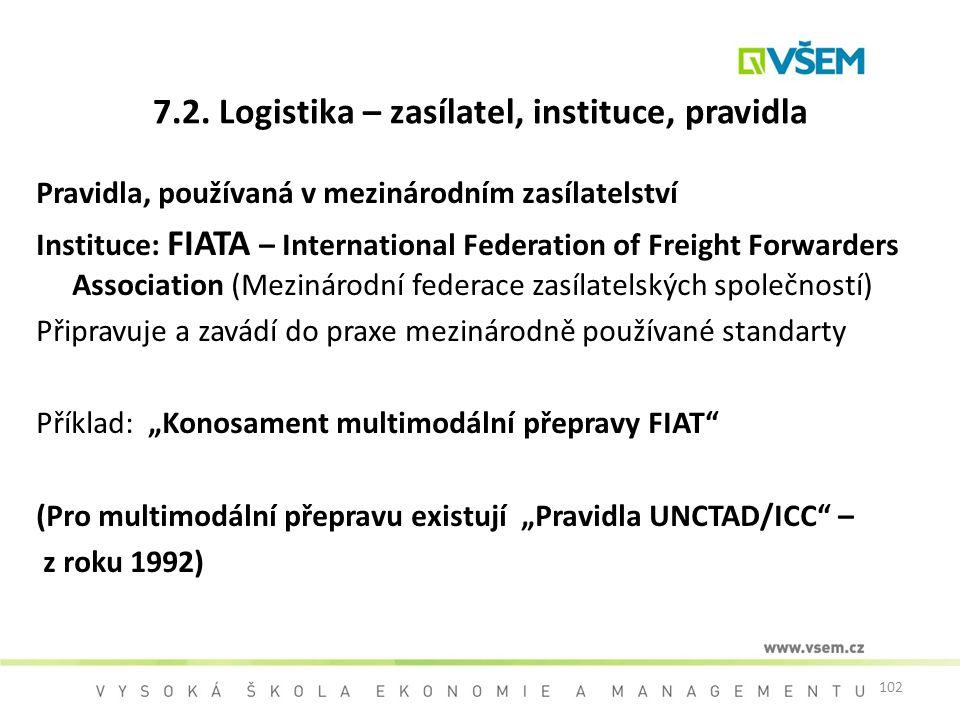 102 7.2. Logistika – zasílatel, instituce, pravidla Pravidla, používaná v mezinárodním zasílatelství Instituce: FIATA – International Federation of Fr