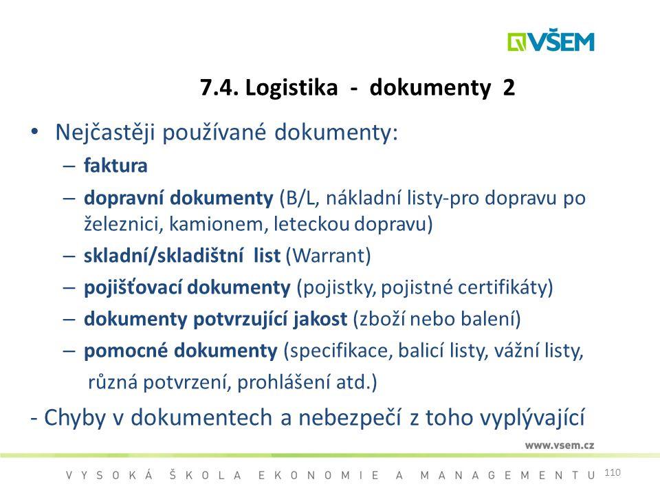 110 7.4. Logistika - dokumenty 2 Nejčastěji používané dokumenty: – faktura – dopravní dokumenty (B/L, nákladní listy-pro dopravu po železnici, kamione
