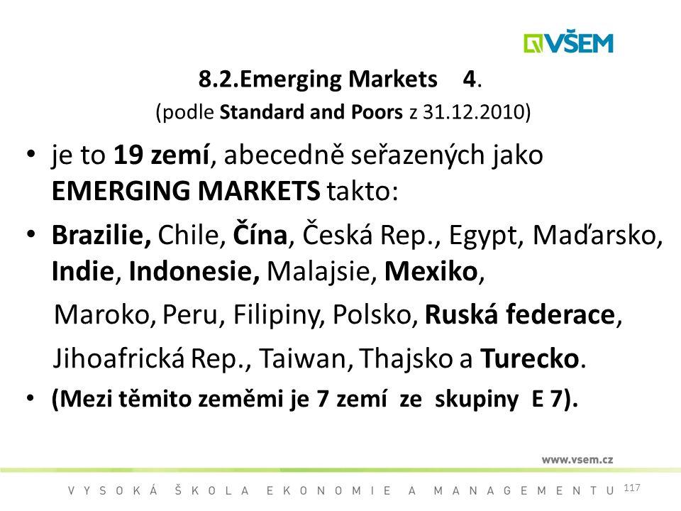 117 8.2.Emerging Markets 4. (podle Standard and Poors z 31.12.2010) je to 19 zemí, abecedně seřazených jako EMERGING MARKETS takto: Brazilie, Chile, Č