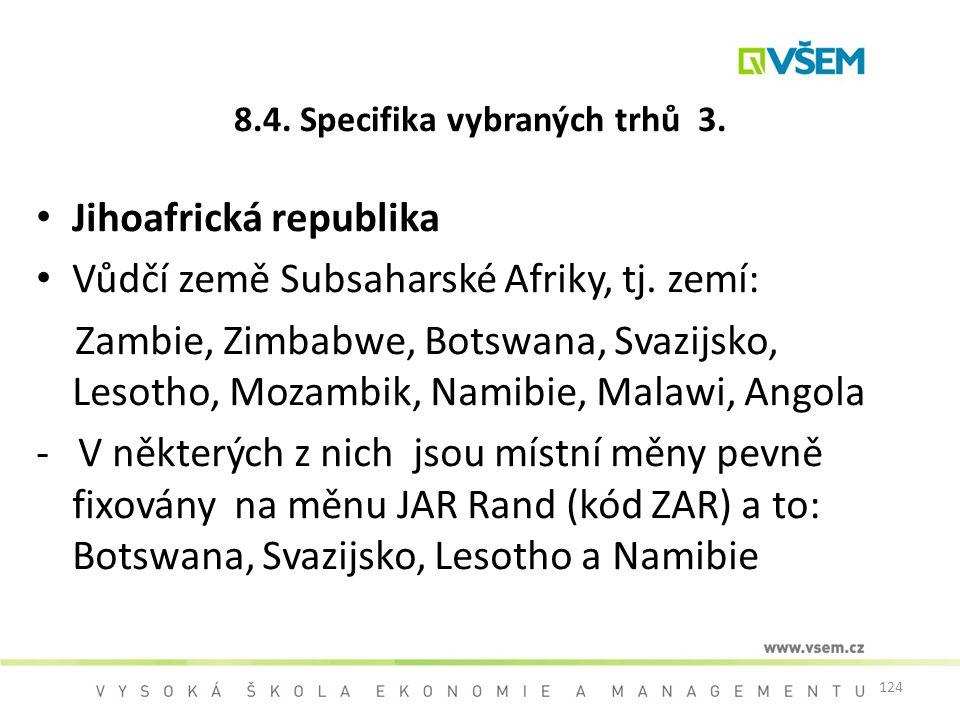 124 8.4. Specifika vybraných trhů 3. Jihoafrická republika Vůdčí země Subsaharské Afriky, tj. zemí: Zambie, Zimbabwe, Botswana, Svazijsko, Lesotho, Mo