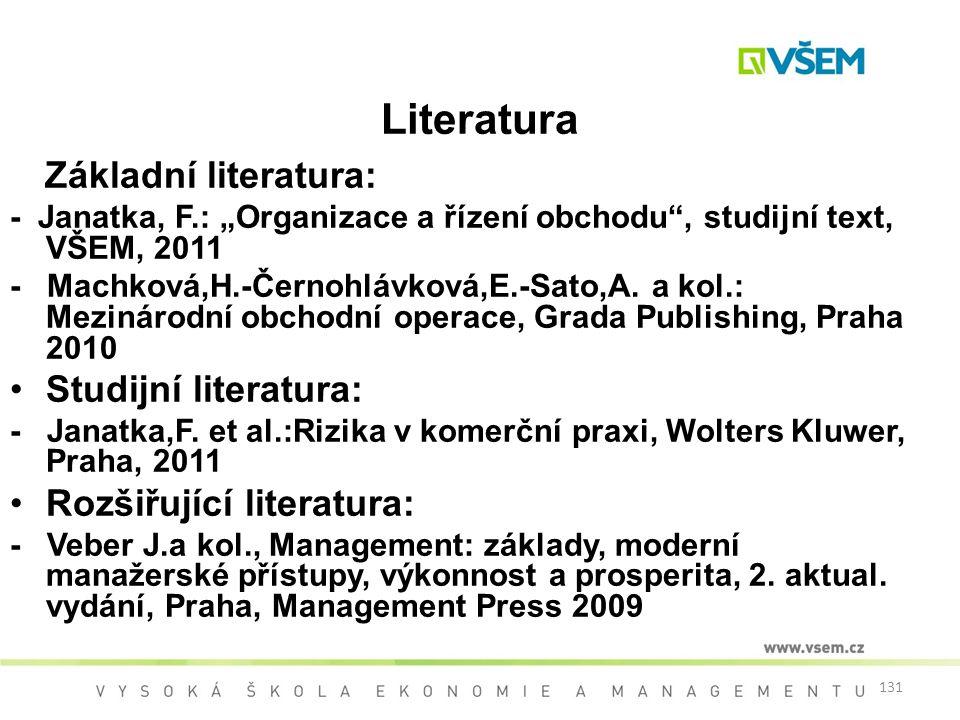 """131 Literatura Základní literatura: - Janatka, F.: """"Organizace a řízení obchodu"""", studijní text, VŠEM, 2011 - Machková,H.-Černohlávková,E.-Sato,A. a k"""