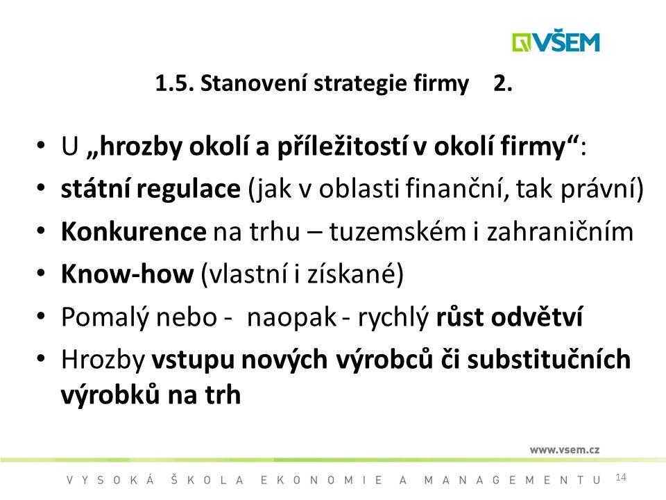 """14 1.5. Stanovení strategie firmy 2. U """"hrozby okolí a příležitostí v okolí firmy"""": státní regulace (jak v oblasti finanční, tak právní) Konkurence na"""