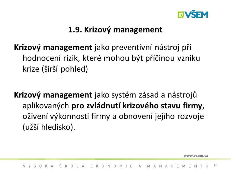 18 1.9. Krizový management Krizový management jako preventivní nástroj při hodnocení rizik, které mohou být příčinou vzniku krize (širší pohled) Kriz