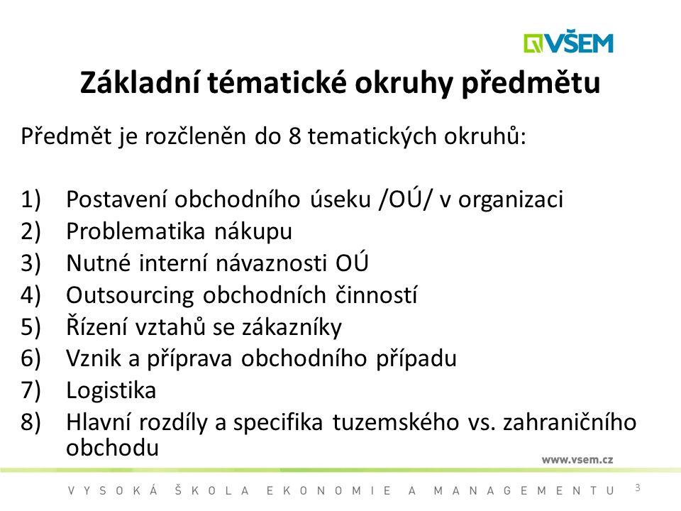 3 Základní tématické okruhy předmětu Předmět je rozčleněn do 8 tematických okruhů: 1)Postavení obchodního úseku /OÚ/ v organizaci 2)Problematika nákup