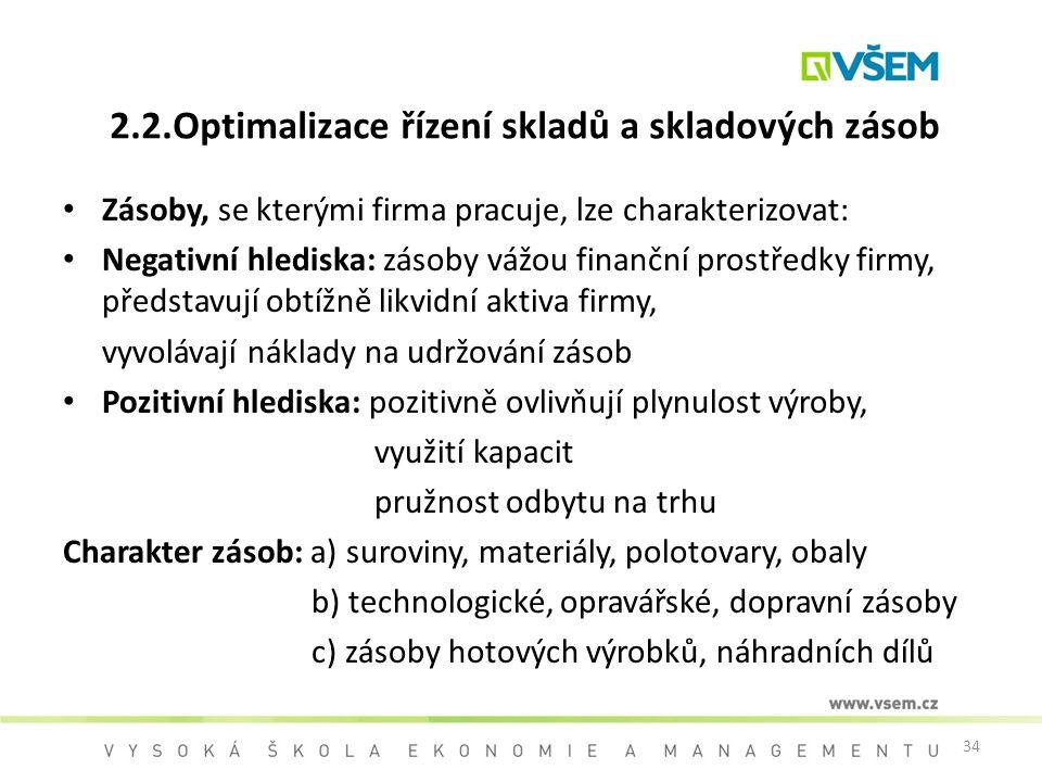 34 2.2.Optimalizace řízení skladů a skladových zásob Zásoby, se kterými firma pracuje, lze charakterizovat: Negativní hlediska: zásoby vážou finanční