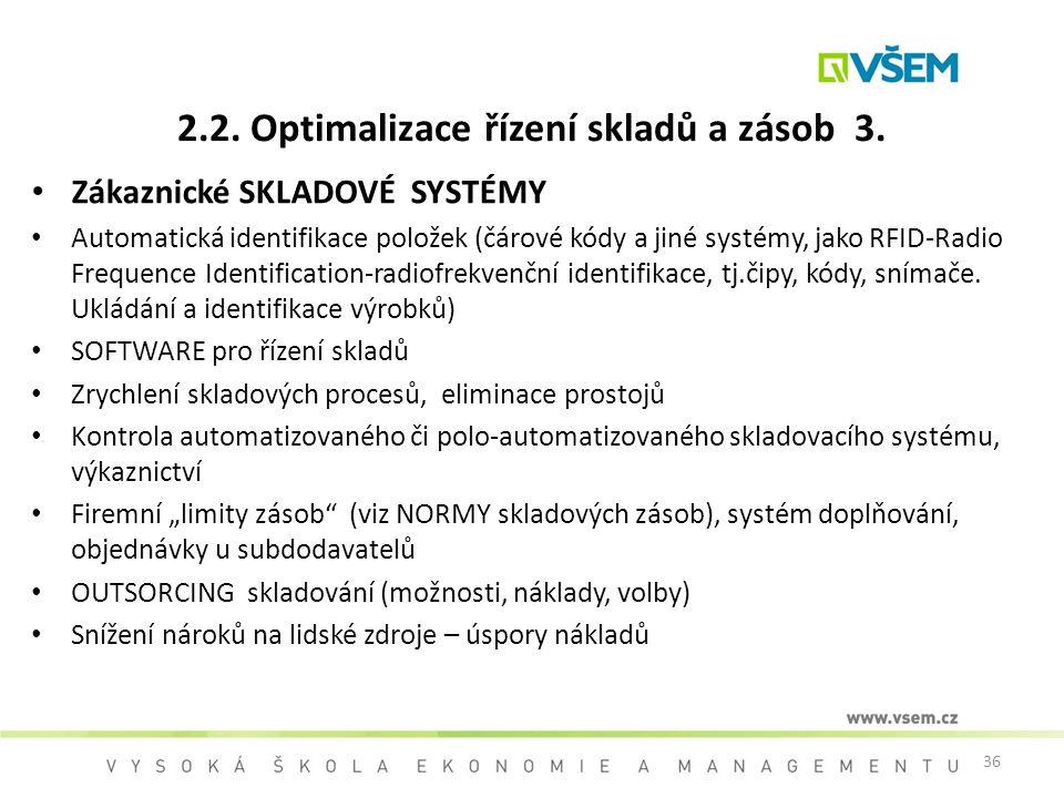 36 2.2. Optimalizace řízení skladů a zásob 3. Zákaznické SKLADOVÉ SYSTÉMY Automatická identifikace položek (čárové kódy a jiné systémy, jako RFID-Radi
