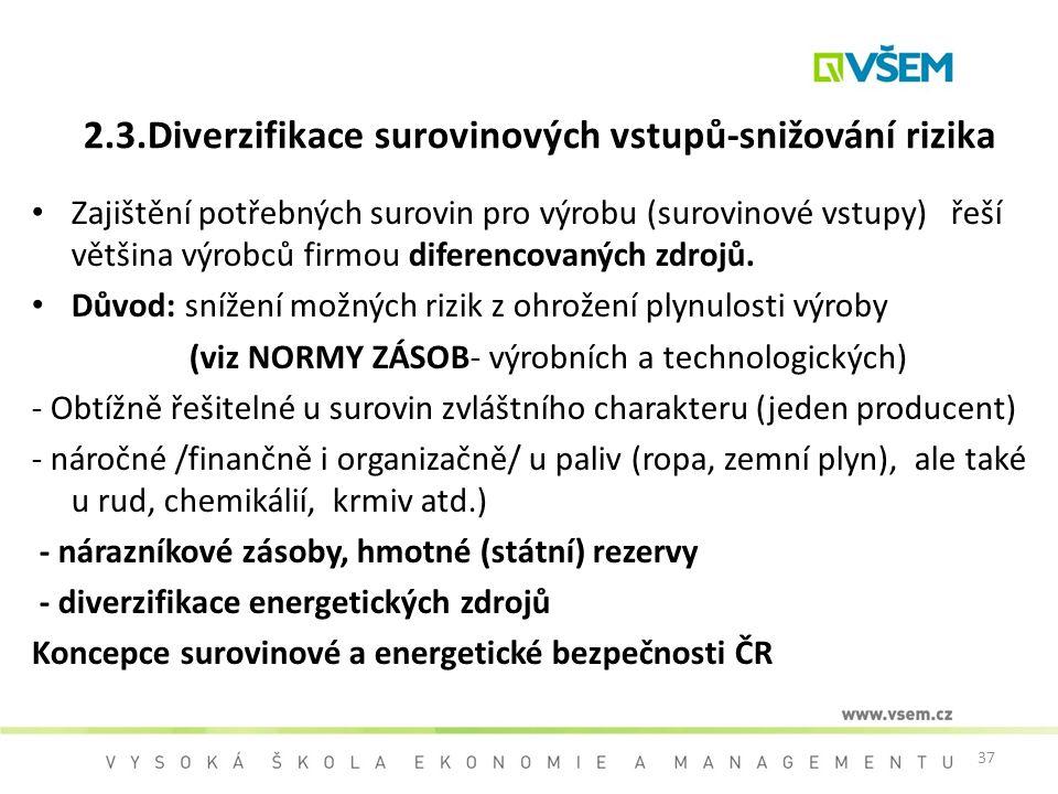 37 2.3.Diverzifikace surovinových vstupů-snižování rizika Zajištění potřebných surovin pro výrobu (surovinové vstupy) řeší většina výrobců firmou dife