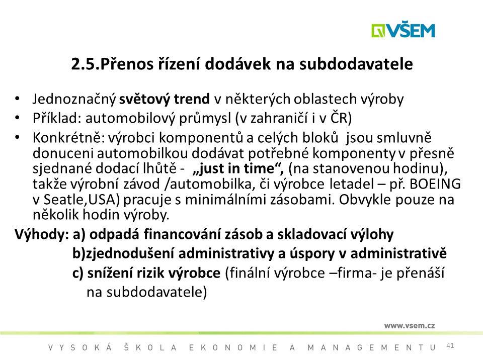 41 2.5.Přenos řízení dodávek na subdodavatele Jednoznačný světový trend v některých oblastech výroby Příklad: automobilový průmysl (v zahraničí i v ČR