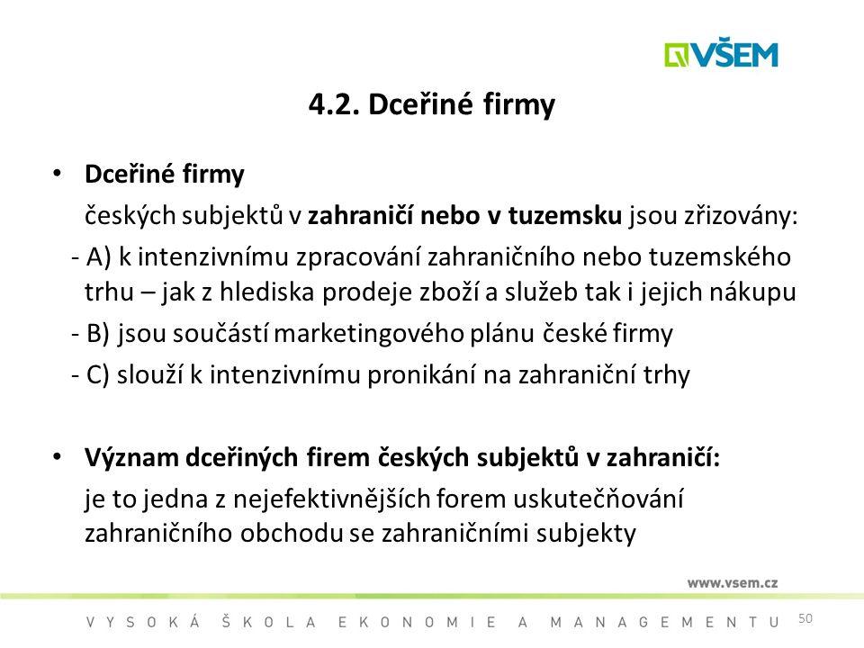 50 4.2. Dceřiné firmy Dceřiné firmy českých subjektů v zahraničí nebo v tuzemsku jsou zřizovány: - A) k intenzivnímu zpracování zahraničního nebo tuze