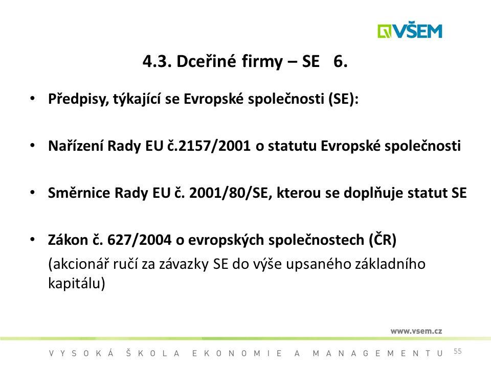 55 4.3. Dceřiné firmy – SE 6. Předpisy, týkající se Evropské společnosti (SE): Nařízení Rady EU č.2157/2001 o statutu Evropské společnosti Směrnice Ra