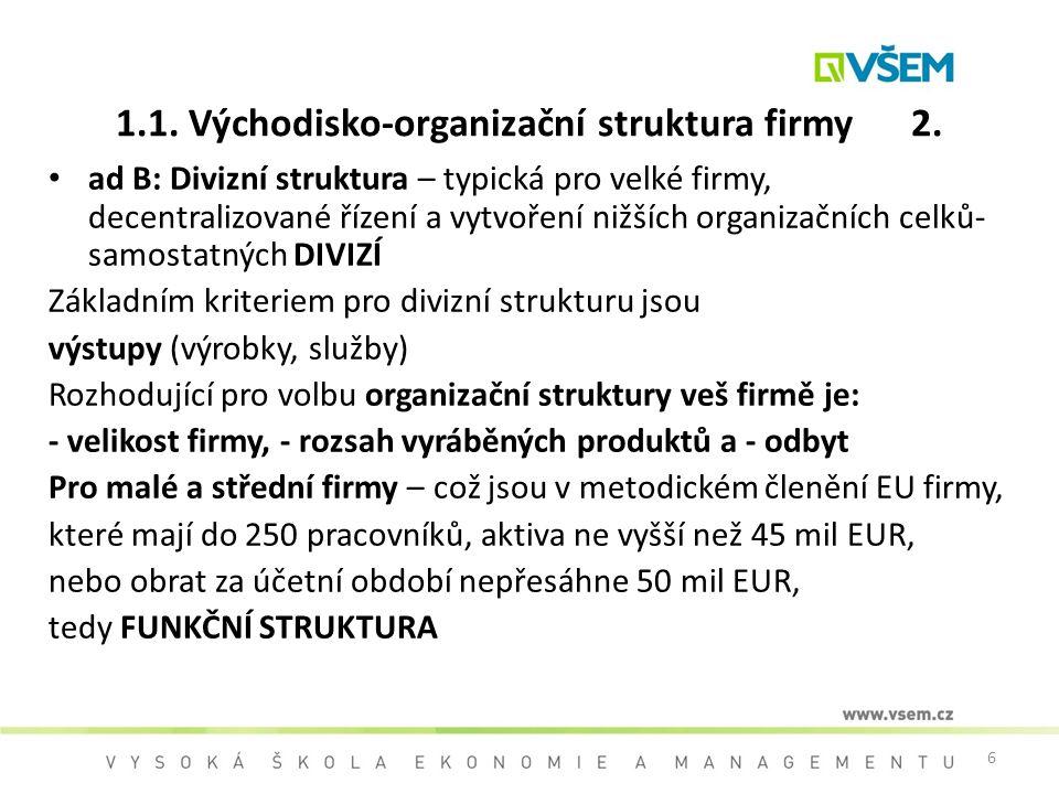 6 1.1. Východisko-organizační struktura firmy 2. ad B: Divizní struktura – typická pro velké firmy, decentralizované řízení a vytvoření nižších organi