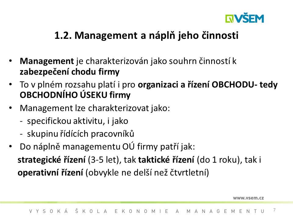 7 1.2. Management a náplň jeho činnosti Management je charakterizován jako souhrn činností k zabezpečení chodu firmy To v plném rozsahu platí i pro or