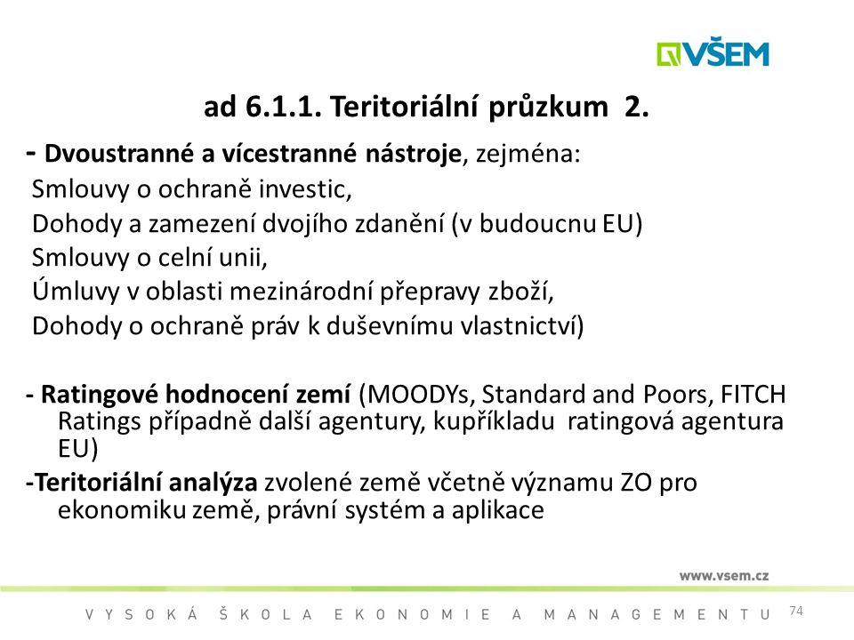 74 ad 6.1.1. Teritoriální průzkum 2. - Dvoustranné a vícestranné nástroje, zejména: Smlouvy o ochraně investic, Dohody a zamezení dvojího zdanění (v b
