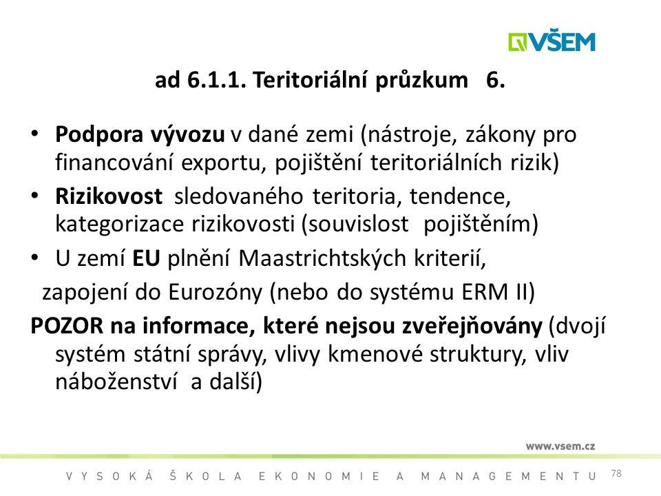 78 ad 6.1.1. Teritoriální průzkum 6. Podpora vývozu v dané zemi (nástroje, zákony pro financování exportu, pojištění teritoriálních rizik) Rizikovost