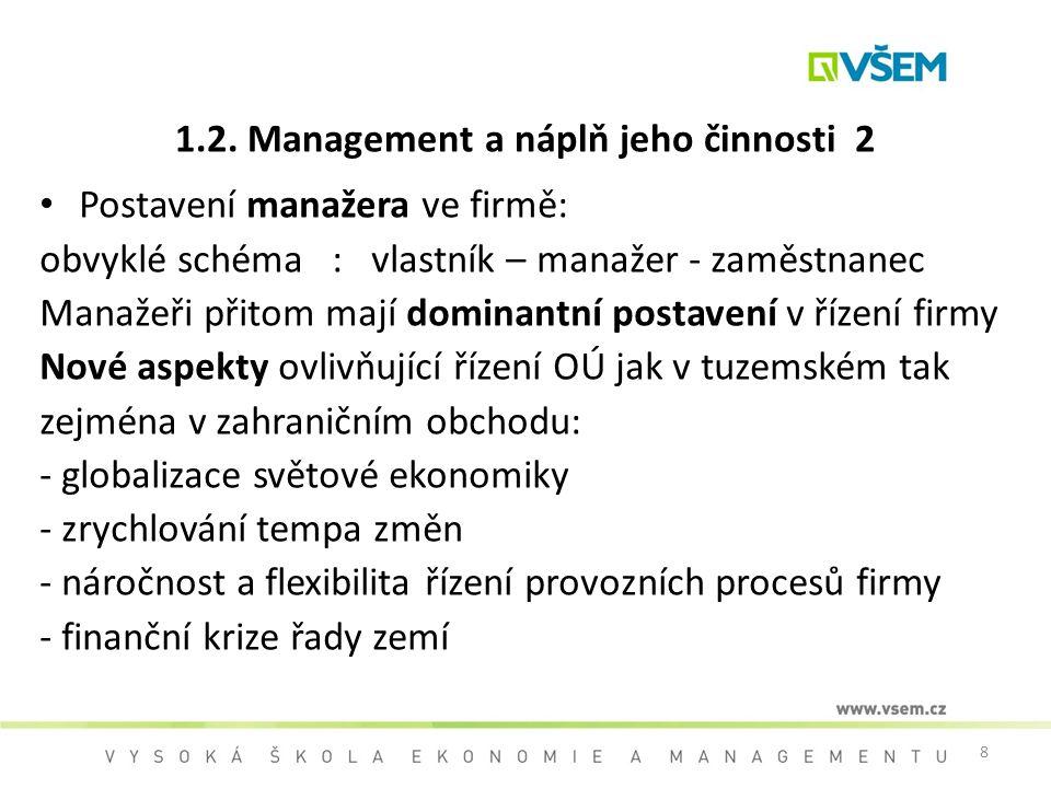 8 1.2. Management a náplň jeho činnosti 2 Postavení manažera ve firmě: obvyklé schéma : vlastník – manažer - zaměstnanec Manažeři přitom mají dominant