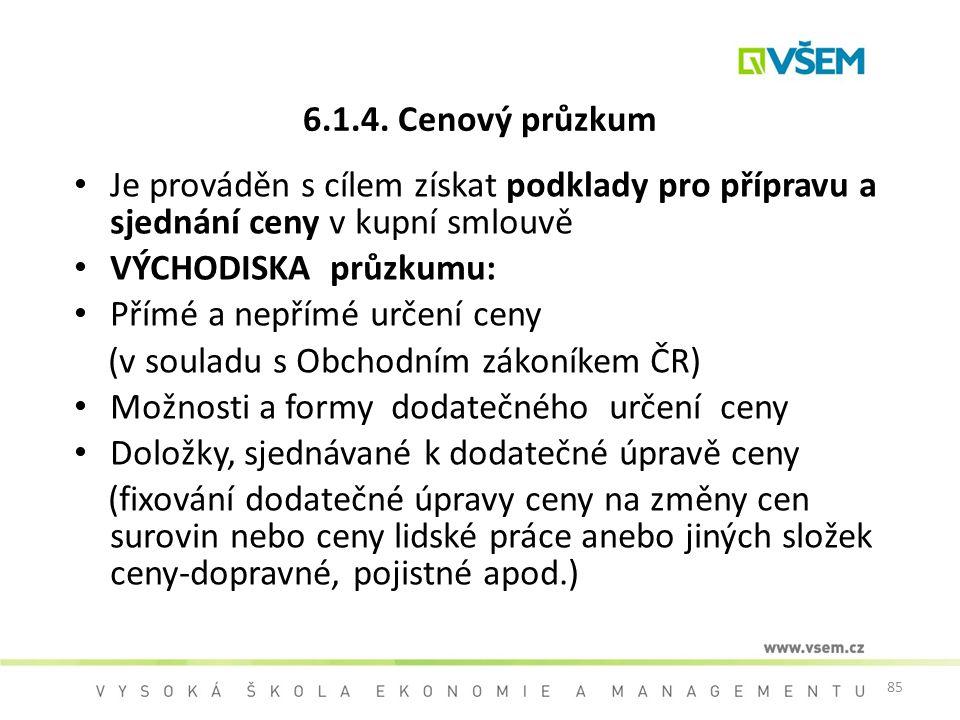 85 Je prováděn s cílem získat podklady pro přípravu a sjednání ceny v kupní smlouvě VÝCHODISKA průzkumu: Přímé a nepřímé určení ceny (v souladu s Obch