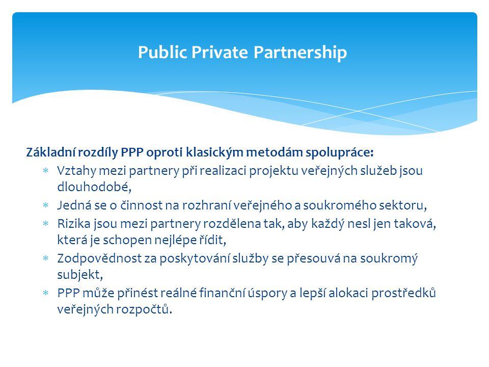 Základní rozdíly PPP oproti klasickým metodám spolupráce:  Vztahy mezi partnery při realizaci projektu veřejných služeb jsou dlouhodobé,  Jedná se o