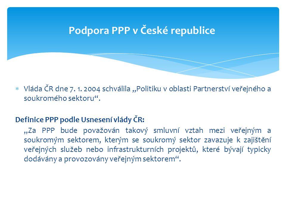 """ Vláda ČR dne 7. 1. 2004 schválila """"Politiku v oblasti Partnerství veřejného a soukromého sektoru"""". Definice PPP podle Usnesení vlády ČR: """"Za PPP bud"""
