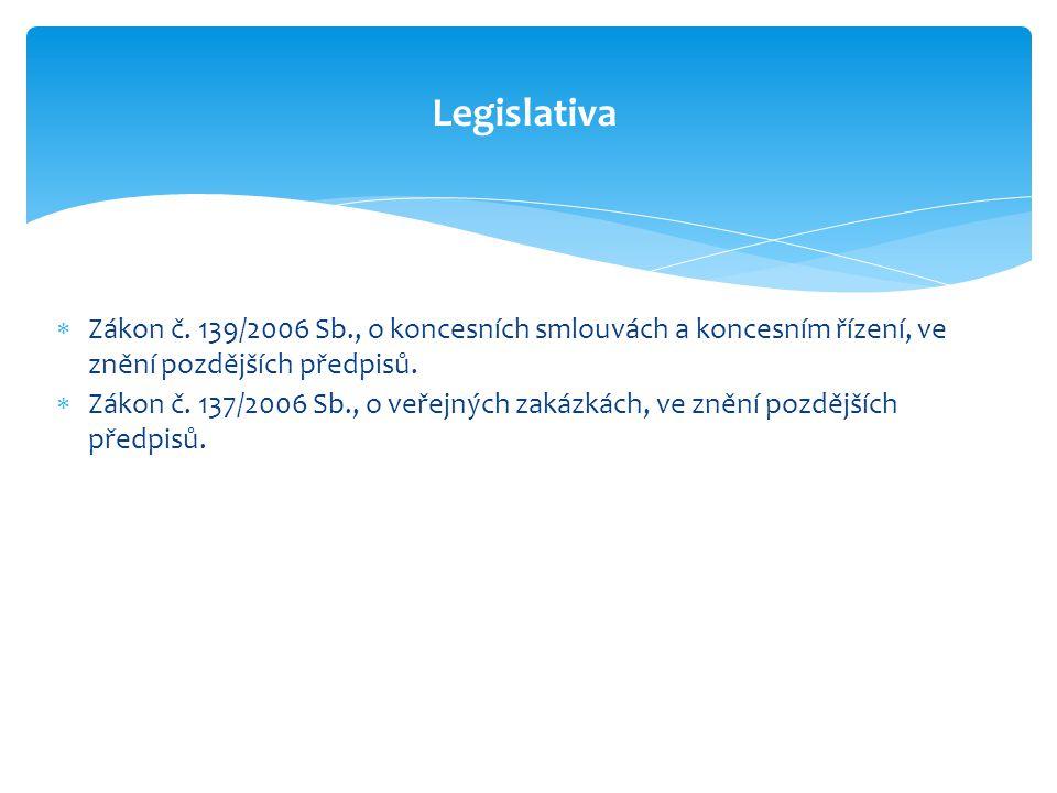 Zákon č. 139/2006 Sb., o koncesních smlouvách a koncesním řízení, ve znění pozdějších předpisů.  Zákon č. 137/2006 Sb., o veřejných zakázkách, ve z