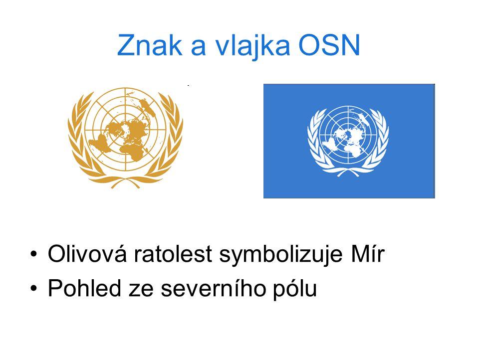 Znak a vlajka OSN Olivová ratolest symbolizuje Mír Pohled ze severního pólu