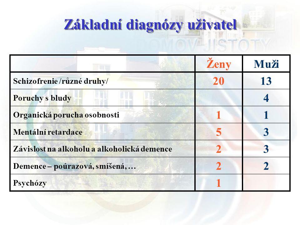 Základní diagnózy uživatel ŽenyMuži Schizofrenie /různé druhy/ 2013 Poruchy s bludy 4 Organická porucha osobnosti 11 Mentální retardace 53 Závislost n