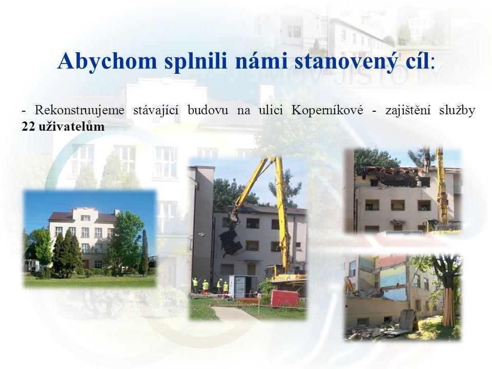 Abychom splnili námi stanovený cíl: - Rekonstruujeme stávající budovu na ulici Koperníkové - zajištění služby 22 uživatelům