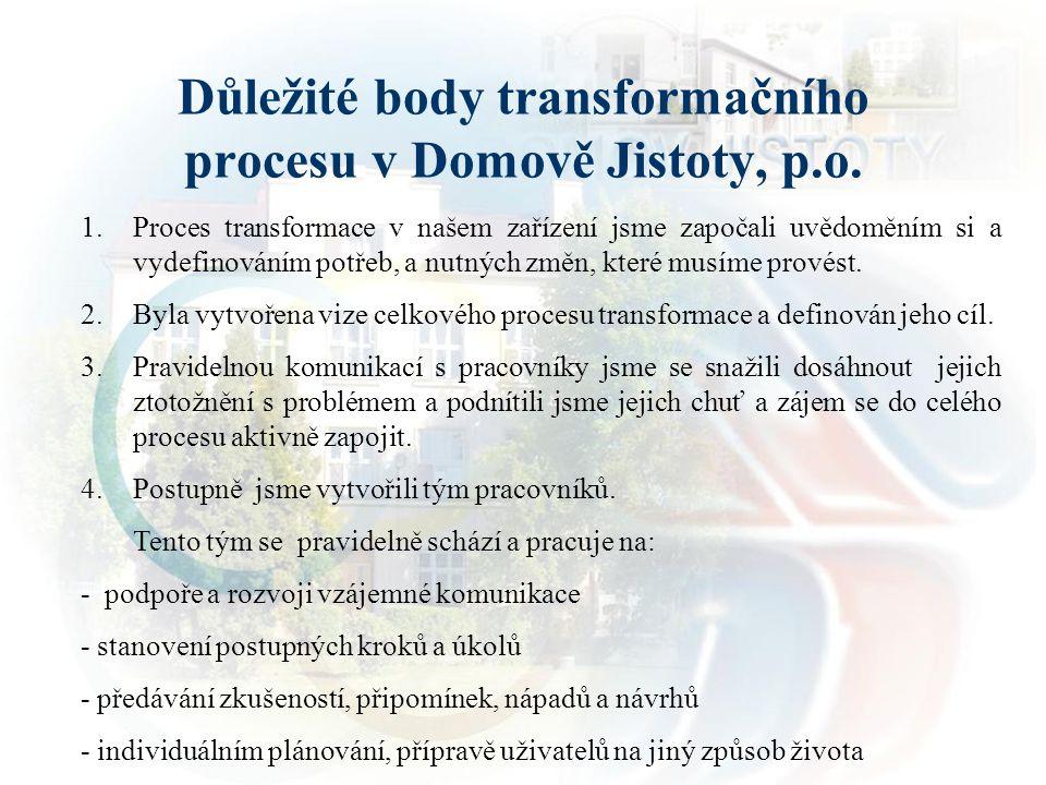 Důležité body transformačního procesu v Domově Jistoty, p.o. 1.Proces transformace v našem zařízení jsme započali uvědoměním si a vydefinováním potřeb