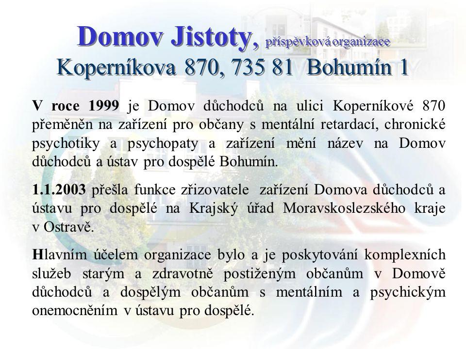 Na základě usnesení zastupitelstva kraje ze dne 28.6.2007 se mění název organizace na Domov Jistoty, příspěvková organizace.