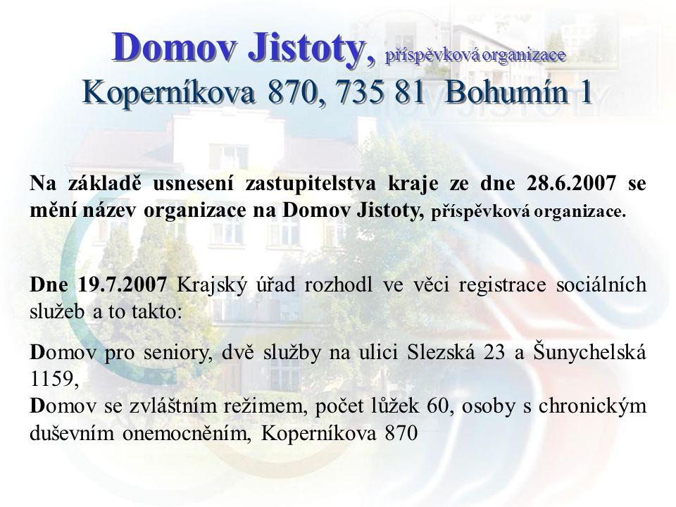 Na základě usnesení zastupitelstva kraje ze dne 28.6.2007 se mění název organizace na Domov Jistoty, příspěvková organizace. Dne 19.7.2007 Krajský úřa