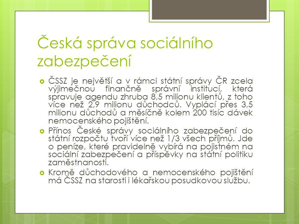 Organizační struktura ČSSZ  Strukturu ČSSZ tvoří ústředí ČSSZ, (regionální) pracoviště ČSSZ, okresní správy sociálního zabezpečení, Pražská správa sociálního zabezpečení a Městská správa sociálního zabezpečení Brno a jejich územní pracoviště.