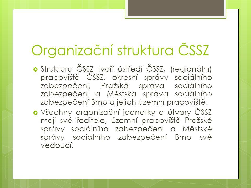 Organizační struktura ČSSZ  Strukturu ČSSZ tvoří ústředí ČSSZ, (regionální) pracoviště ČSSZ, okresní správy sociálního zabezpečení, Pražská správa so