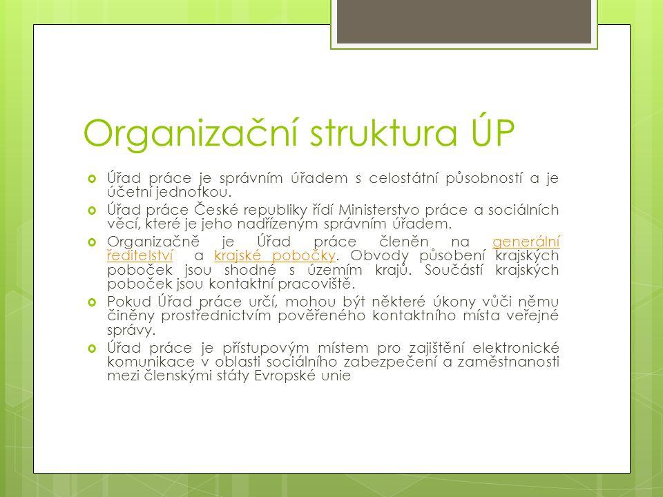Organizační struktura ÚP  Úřad práce je správním úřadem s celostátní působností a je účetní jednotkou.  Úřad práce České republiky řídí Ministerstvo