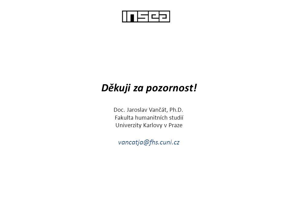 Děkuji za pozornost! Doc. Jaroslav Vančát, Ph.D. Fakulta humanitních studií Univerzity Karlovy v Praze vancatja@fhs.cuni.cz
