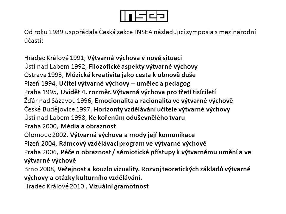 Od roku 1989 uspořádala Česká sekce INSEA následující symposia s mezinárodní účastí: Hradec Králové 1991, Výtvarná výchova v nové situaci Ústí nad Lab