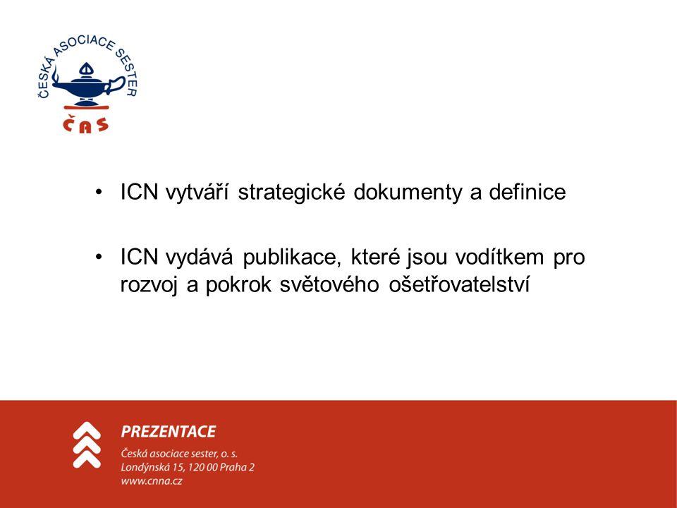 ICN vytváří strategické dokumenty a definice ICN vydává publikace, které jsou vodítkem pro rozvoj a pokrok světového ošetřovatelství