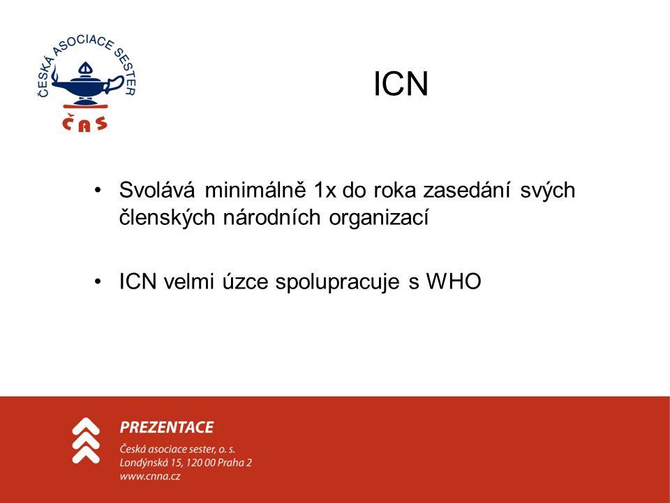 ICN Svolává minimálně 1x do roka zasedání svých členských národních organizací ICN velmi úzce spolupracuje s WHO
