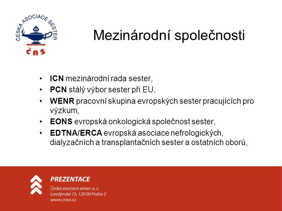 Mezinárodní společnosti ICN mezinárodní rada sester, PCN stálý výbor sester při EU, WENR pracovní skupina evropských sester pracujících pro výzkum, EONS evropská onkologická společnost sester, EDTNA/ERCA evropská asociace nefrologických, dialyzačních a transplantačních sester a ostatních oborů,