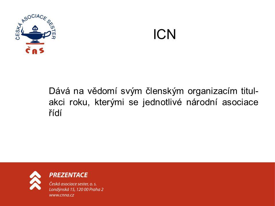 ICN Dává na vědomí svým členským organizacím titul- akci roku, kterými se jednotlivé národní asociace řídí