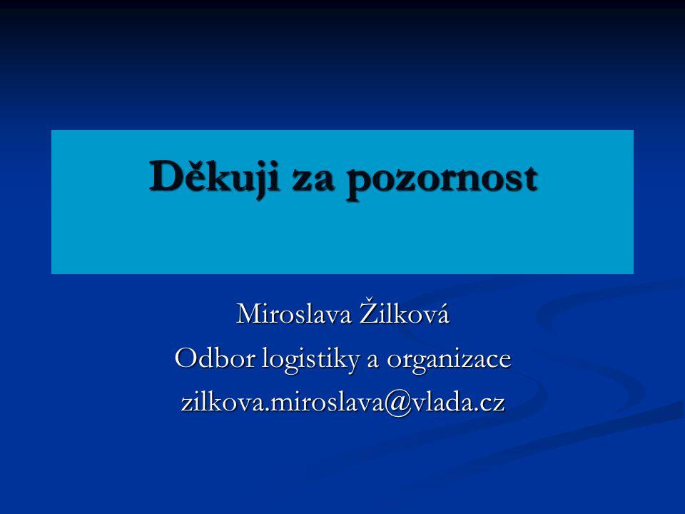 Děkuji za pozornost Miroslava Žilková Odbor logistiky a organizace zilkova.miroslava@vlada.cz