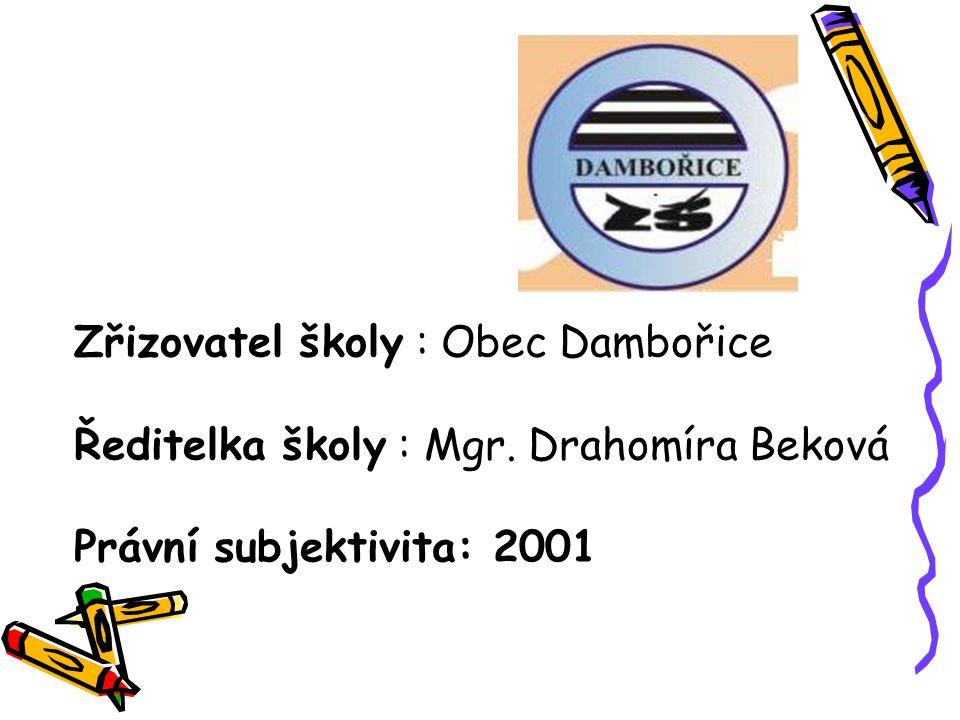 Zřizovatel školy : Obec Dambořice Ředitelka školy : Mgr. Drahomíra Beková Právní subjektivita: 2001