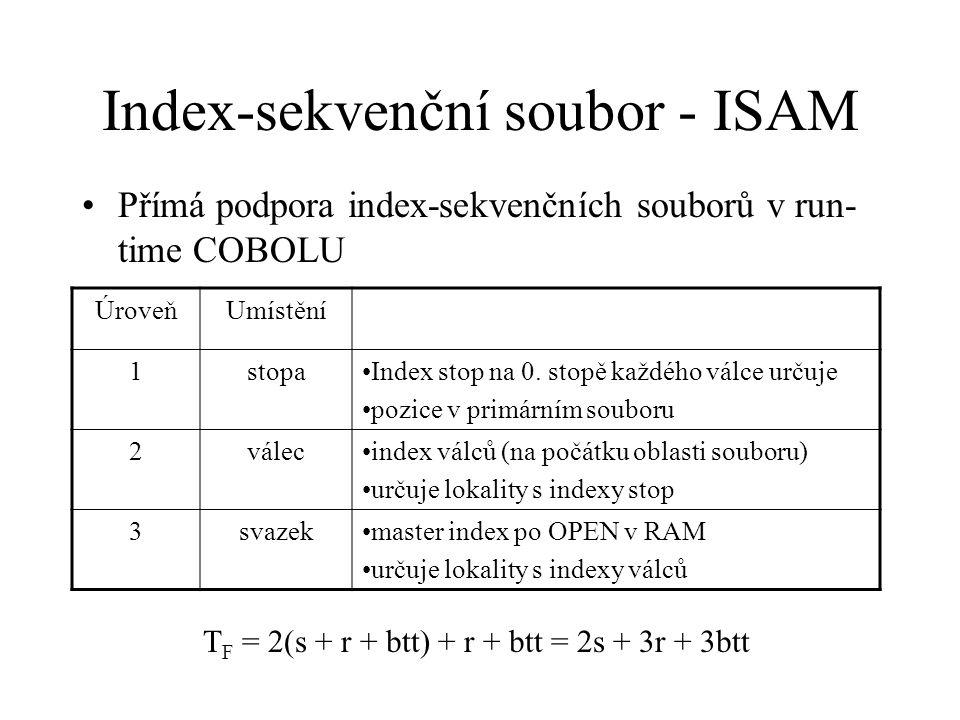 Index-sekvenční soubor - ISAM Přímá podpora index-sekvenčních souborů v run- time COBOLU ÚroveňUmístění 1stopaIndex stop na 0.