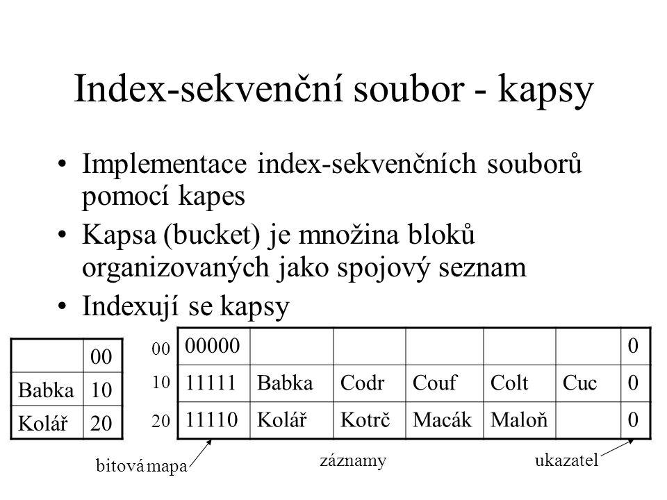 Index-sekvenční soubor - kapsy Implementace index-sekvenčních souborů pomocí kapes Kapsa (bucket) je množina bloků organizovaných jako spojový seznam Indexují se kapsy 00 Babka10 Kolář20 000000 11111BabkaCodrCoufColtCuc0 11110KolářKotrčMacákMaloň0 bitová mapa záznamyukazatel 00 10 20