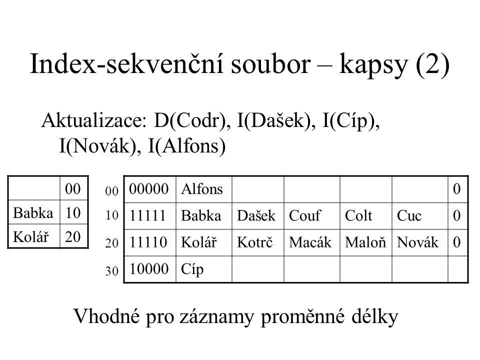 Index-sekvenční soubor – kapsy (2) Aktualizace: D(Codr), I(Dašek), I(Cíp), I(Novák), I(Alfons) 00 Babka10 Kolář20 00000Alfons0 11111BabkaDašekCoufColtCuc0 11110KolářKotrčMacákMaloňNovák0 10000Cíp 00 10 20 30 Vhodné pro záznamy proměnné délky